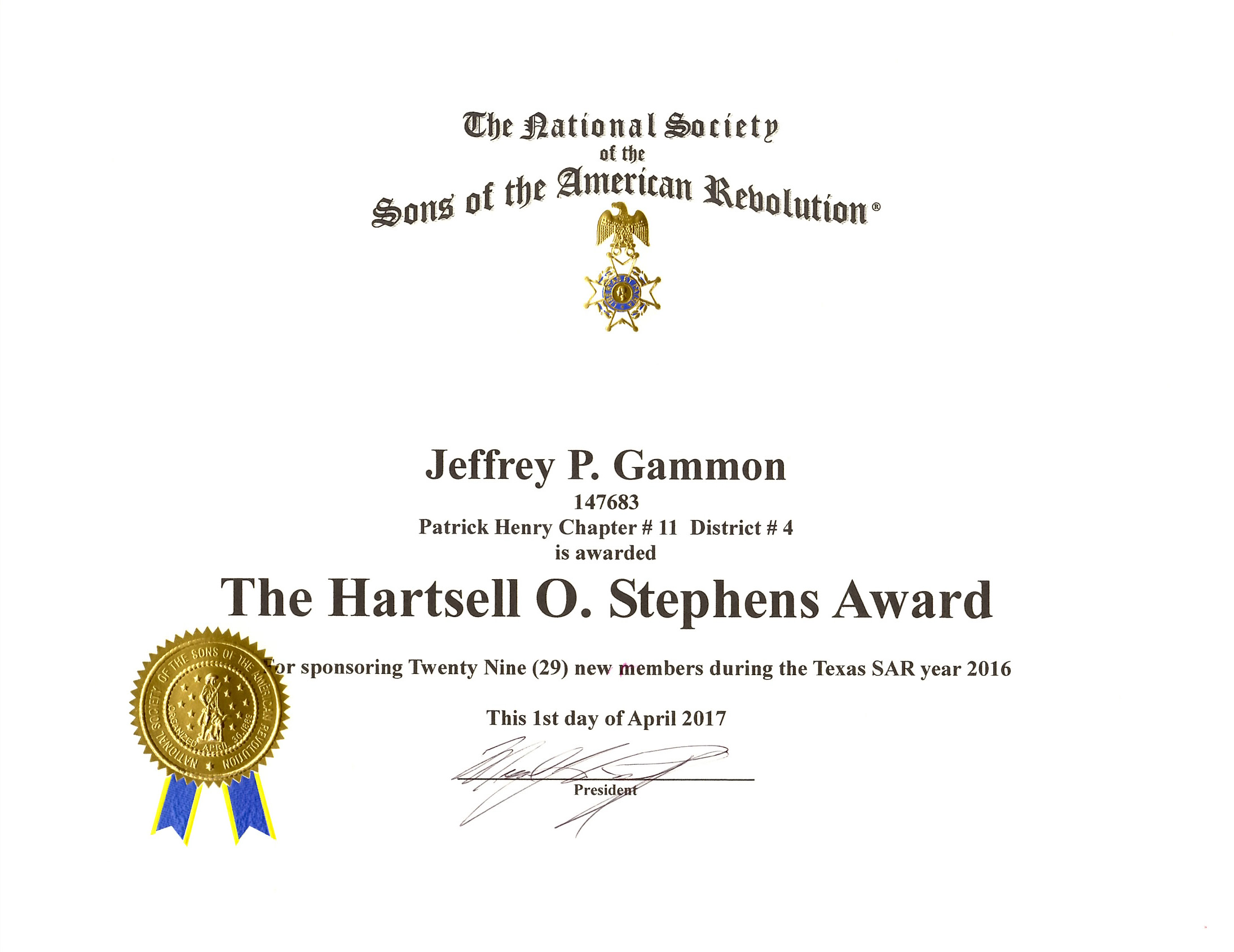 Hartsell O. Stephens Award Jeff Gammon