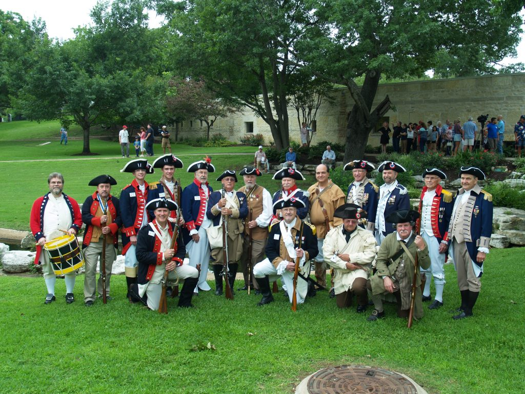 Back Row – Left to Right Darrin Hutchinson (Alexander Hamilton Chapter-Georgetown) Lane Redwine (Alexander Hamilton Chapter-Georgetown) Nathan Smith Alex Smith Jim Scott (Alexander Hamilton Chapter-Georgetown) Bob Jordan Ray DeVries (Alexander Hamilton Chapter-Georgetown) Henry Shoenfelt Shiidon Hawley Stu Hoyt (William Hightower Chapter-New Braunfels) – State Color Guard Southern Commander Tom Jackson (Robert Rankin Chapter-Houston) Don Chandler (William Hightower Chapter-New Braunfels) Gary Chapel Front Row – Left to Right Robert Hites – Chapter Color Guard Commander Jim Clements – Chapter President Stan Trull (William Hightower-New Braunfels) Richard Fawkes Not pictured but included in the event were John Knox, Wayne Courreges, and Kenny Tooke (taking the picture)